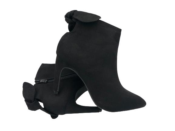 Botki damskie eleganckie na szpilce czarne