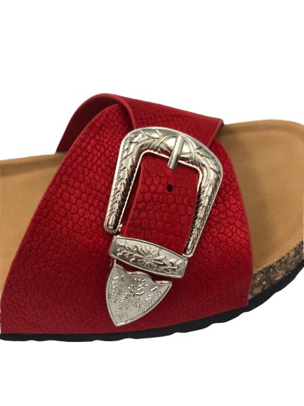 Klapki damskie obuwie wsuwane czerwone 6248-19