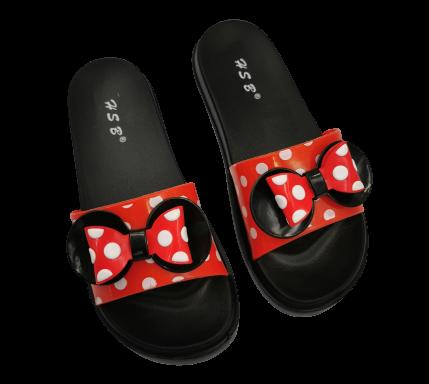 Klapki dziecięce czarno czerwone w kropki 7001C-1
