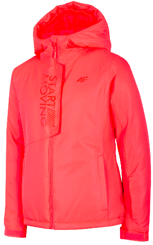 Kurtka narciarska dziewczęca JKUDN001 róż neon