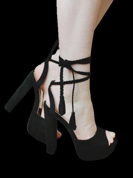 Sandały czarne eleganckie na słupku 1233-1