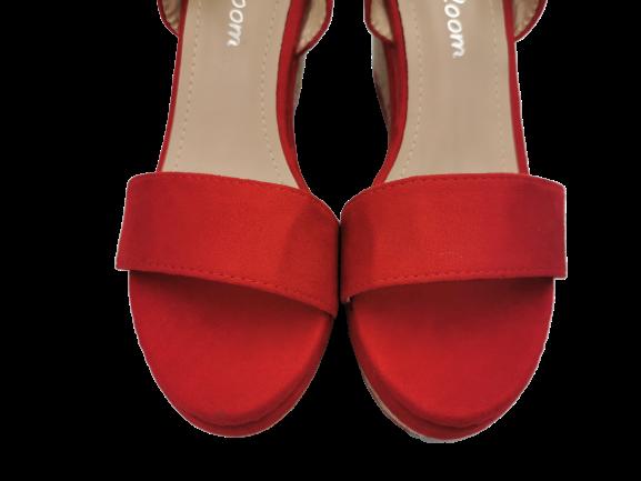 Sandały czerwone na koturnie wygodne 3750