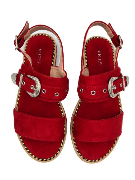 Sandały damskie obuwie czerwone 9206-19