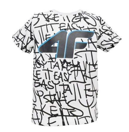 T-shirt chłopięcy 4F biały JTSM004 bawełniany