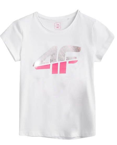 T-shirt dziecięcy 4F JTSD006 bawełniany biały