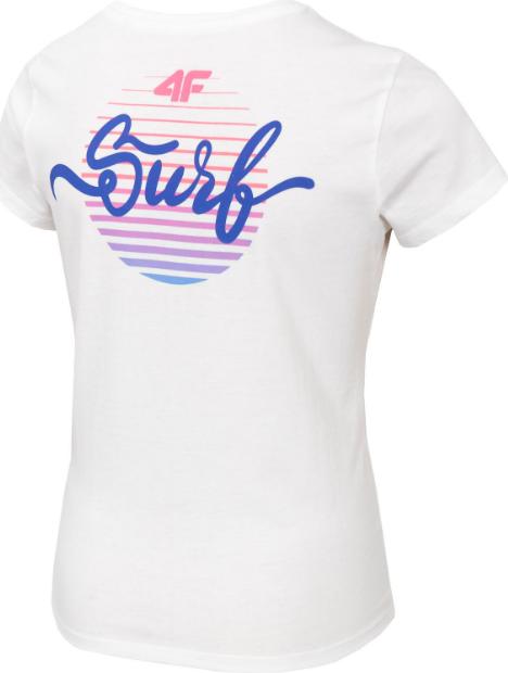 T-shirt dziewczęcy 4F JTSD007A koszulka biała