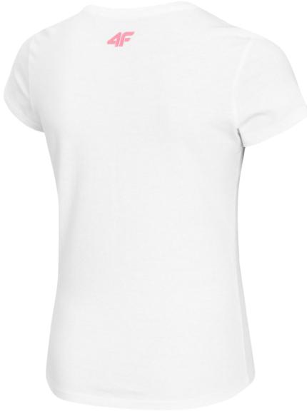 T-shirt dziewczęcy 4F JTSD008 biały