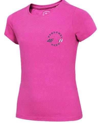 T-shirt dziewczęcy 4F JTSD008A różowy