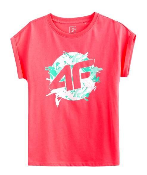 T-shirt dziewczęcy 4F JTSD012 różowy neon