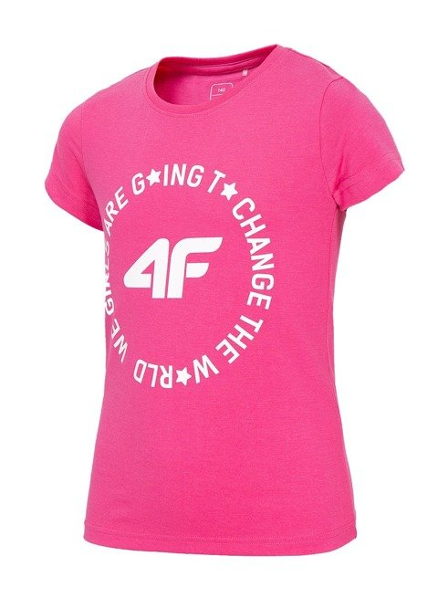 T-shirt dziewczęcy 4F JTSD013 FUKSJA