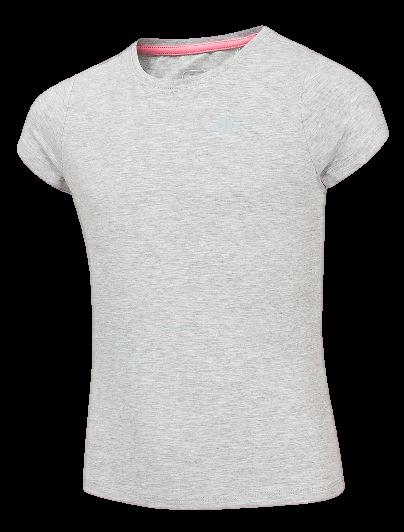 T-shirt dziewczęcy 4F szary JTSD001 bawełniany