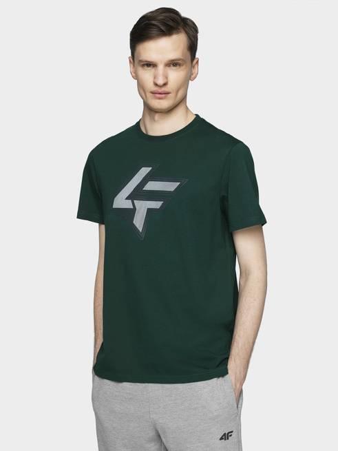 T-shirt męski 4F TSM010 ciemna zieleń bawełna